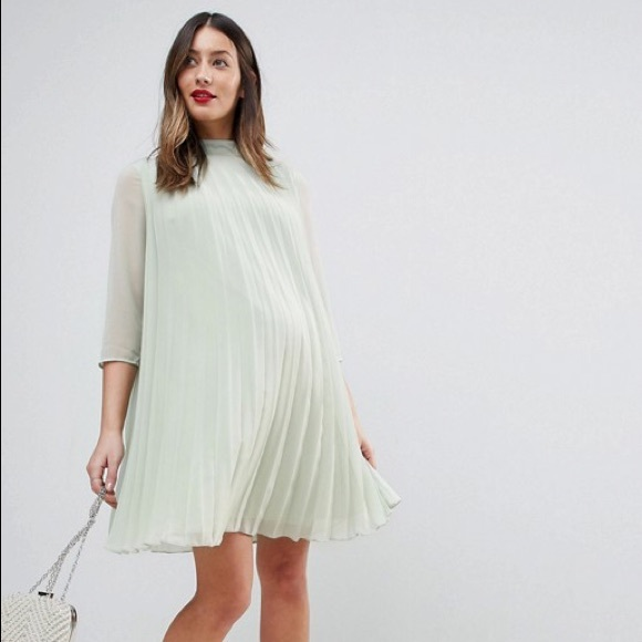 4ecf30ea34a ASOS Maternity Pleated Trapeze Mini Dress Sage 8
